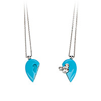 Mickey Mouse Magnetic Heart Necklace by Petra Azar - Turquoise