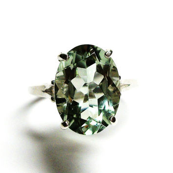 "Prasiolite, prasiolite ring, green quartz ring, solitaire ring, green ring,  s 7 3/4    ""Groovy Green"""