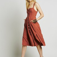 """Free People"" Solid Color Fashion Buttons Strap Sleeveless Backless Split Dress"