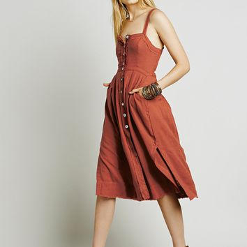 """""""Free People"""" Solid Color Fashion Buttons Strap Sleeveless Backless Split Dress"""
