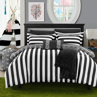 Chic Home 8 Piece Lyon Geometric and Striped printed REVERSIBLE Comforter Set, Includes Sheets, Duffle Hamper and Fleece Throw, Twin X-Long, Black.