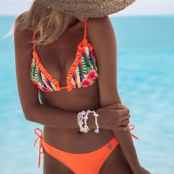 Beach Swimsuit Summer Hot New Arrival Sexy Swimwear Print Ruffle Women's Bikini [1901719093345]