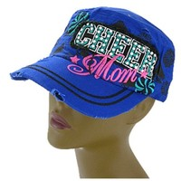 Cheer Mom Rhinestone Studded Bling Cap Hat (Blue)