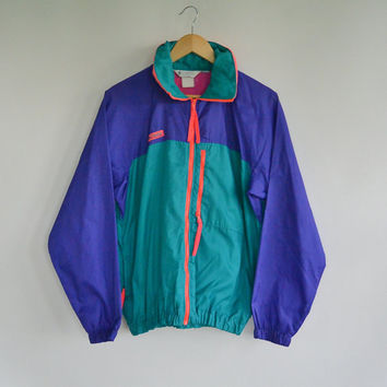 Columbia Nylon Jacket Windbreaker Color Block 90's Hide Away Hood Men's Small Unisex Packable light weight Hooded