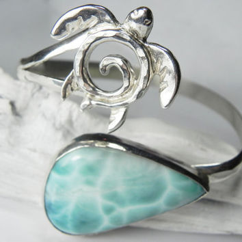 Sea Turtle Bracelet - Larimar Turtle Bracelet - Blue Larimar Large Cuff Bracelet - Unique Sea Turtle Larimar Jewelry - OOAK