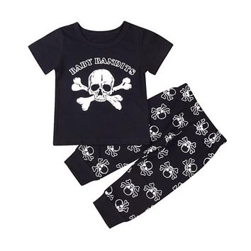 Toddler Kids Baby Boy Skull Short Sleeve Tops Long Pants 2Pcs Baby Boy Cotton Clothes New Arrival Outfits Clothes Set