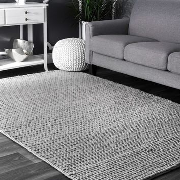 nuLOOM Handmade Casual Braided Wool Grey Rug (8' x 10') | Overstock.com Shopping - The Best Deals on 7x9 - 10x14 Rugs