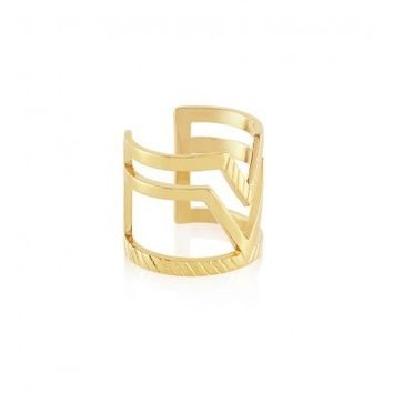 Edge Of Ember Chevron duo gold ring