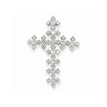 14k White Gold Diamond Celtic Cross Pendant