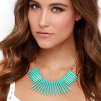 Exotic Aquatic Gold and Turquoise Necklace