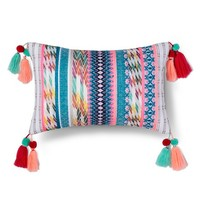 Yarn Dyed Texture Tassel Pillow - White & Multicolor - Xhilaration™