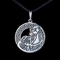 Ethnic Fox Pendant, sterling silver, handmade ... tribal fox, celtic fox, celtic knot