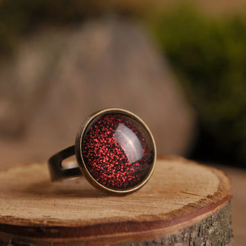 Dark red ring, adjustable ring, antique brass ring, red ring, red shiny ring, statement ring, glass ring, jewelry gift