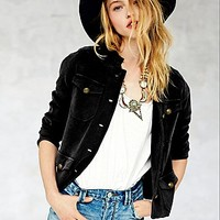 Free People Womens Clear Vision Military Jacket -