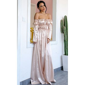 In My Own World Satin Long Sleeve Off The Shoulder Front Slit Maxi Dress - 2 Colors Available