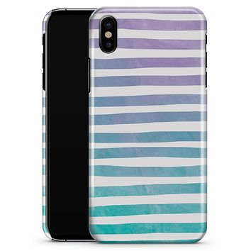 Purple to Green WaterColor Ombre Stripes - iPhone X Clipit Case