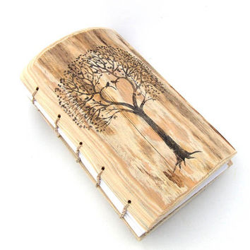 Custom Wood Wedding Guest Book Bridal Shower Rustic Journal Tree of Life wooden guestbook heart