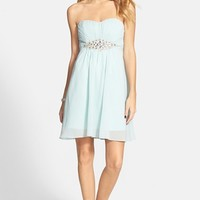 Junior Women's a. drea Embellished Strapless Dress