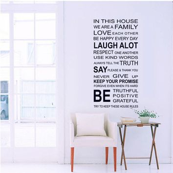Family House Rules Wall Decals