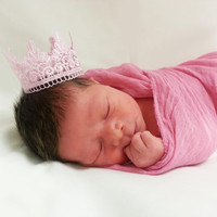 Valentine Pink Lace Crown and Cheesecloth Wrap Newborn Baby Photo Prop Shower Gift