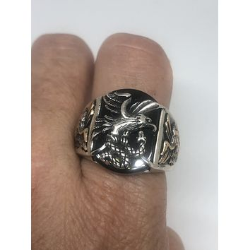 Vintage Black Onyx Eagle with Snake 925 Sterling Silver Ring