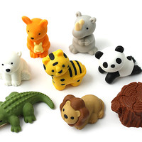 JetPens.com - Iwako Safari Animal Novelty Eraser - 7 Piece Set