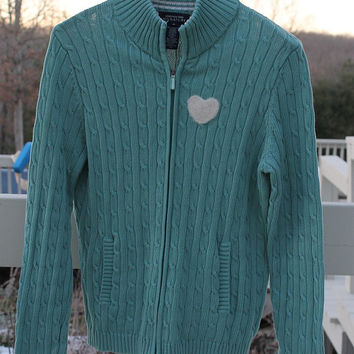 Upcycled Women's Seafoam Green Cotton Sweater with Needle Felted Heart