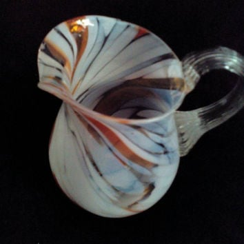 Vintage Colored Glass Pitcher Jug Creamers Soviet Handmade