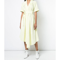 Adam Lippes Asymmetrical Belted Midi Dress - Yellow V Neck Dress