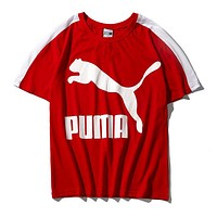PUMA New Popular Women Men Casual Print Round Collar T-Shirt Top Red