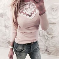Long Lace Sleeve Knitted Blouse