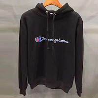 Champion X Supreme Fashion Embroidery Long Sleeve Hoodie Velvet Top Sweater Pullover Black I-YQ-ZLHJ