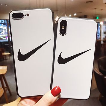 NIKE Tide brand personality couple models iphone8plus mobile phone case cover White