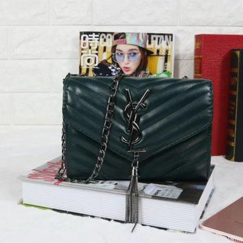 One-nice™ YSL Ttassell Women Shopping Leather Metal Chain Crossbody Satchel Shoulder Bag Green I-MYJSY-BB