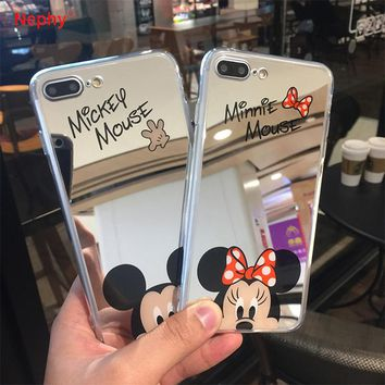 Nephy Minnie Mickey Mouse Mirror Case for iPhone 6 s 6S X 10 7 8 Plus 6Plus 6sPlus 7Plus 8Plus SE 5S Cover silicone Slim Housing