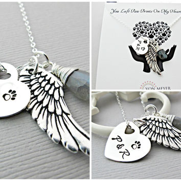Memorial Gift, Sympathy Gift, Angel Wing, Necklace, Personalized Gift, Loss of Pet, Loss Of Dog
