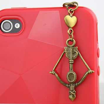 3.5mm Retro Bronze Bow And Arrow Dust-proof Plug  for iphone 4s,iPhone 4,iPhone 3gs,iPod Touch 4,HTC,Nokai,Samsung,Sony