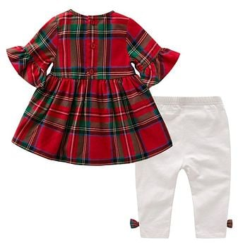 Newest Baby Girl Clothes Set Plaid Dresses + Legging Pants Cotton Newborn Infant Clothing Kids Toddler Baby Outfit