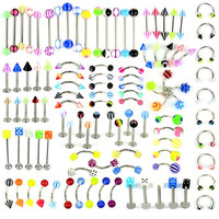 105 Pcs Body Jewelry Piercing Eyebrow Navel Belly Tongue Lip Ring 21 Style  D_L = 1712522308