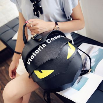 Cute Black Small Leather Backpack