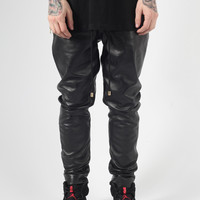 BLACK FULL LEATHER JOGGER WITH ZIP DETAILING