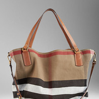 Large Canvas Check Tote Bag