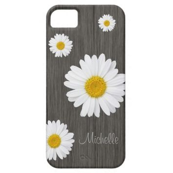 Country Daisy on Rustic, Wood Personalized iPhone 5 Cases