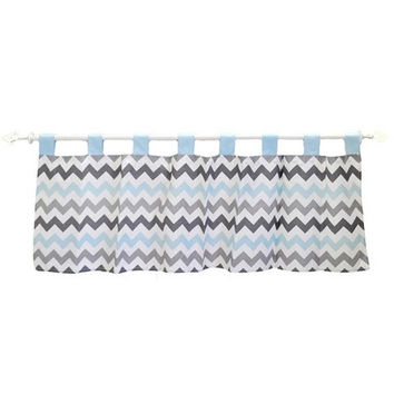 Chevron in Aqua/Gray Curtain Valance