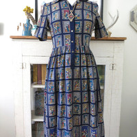 S, M 70s midi dress, beautiful stained glass print, from Japan