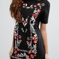 Black Floral Print Embroidery Mexican Style Short Sleeve Cute Mini Dress