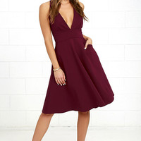 Finesse Burgundy Midi Dress
