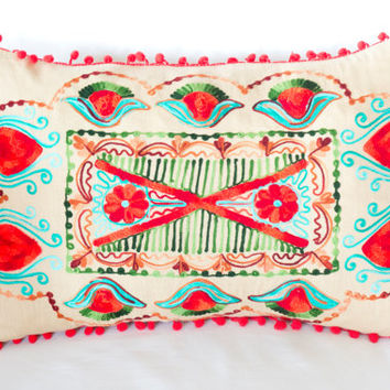 Red Turkish Traditional Decorative Lumbar Pillow, Bohemian Cushion , Decorative Pillow, Embroidered Pillow, Cotton Pillow, Authentic Cushion