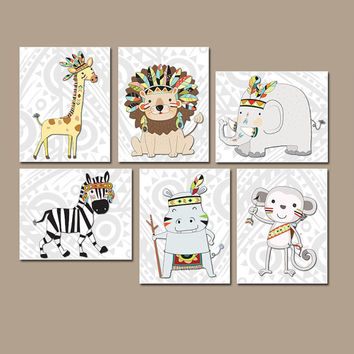 TRIBAL Nursery Wall Art, Canvas or Prints, Whimsical Tribal Animals, Indian Feathers, Zoo Animal Tribe, Woodland Baby Decor Set of 6