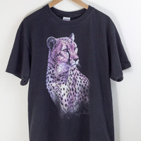 CHEETAH SHIRT / black grunge shirt / animal print tshirt / graphic tee / wild animal safari / vintage / adult / large